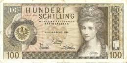 BILLETE DE AUSTRIA DE 100 SCHILLING DEL AÑO 1969 (BANKNOTE-BANK NOTE) - Austria