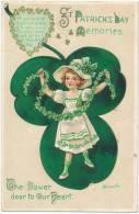 ST. PATRICK'S DAY MEMORIES , Poem, Pretty Girl , A/S Heinmüller, International Art, Series No. 4153, Sent 1913, Embossed - Saint-Patrick's Day