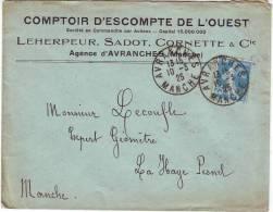 """N°140 Sur Lettre """"Comptoir D´escompte De L´ouest Leherpeur , Sadot , Cornette & Cie"""" CàD A4 D´ Avranches Du 10-03-25 - 1921-1960: Periodo Moderno"""