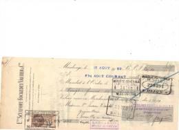 Lettre Change 17/8/ 1929 Sculfort Fockedey Vautier Maubeuge Nord Pour Pouilly En Auxois Côte D´Or - Timbre  Fiscal - Lettres De Change