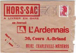 HORS SAC A LIVRER EN GARE Au JOURNAL L'ARDENNAIS 08102 CHARLEVILLE MEZIERES. GRANDPRE EN 1987. MARIANNE LIBERTE. - Poststempel (Briefe)