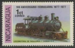 Nicaragua 1978 Mi 2027 ** Locomotive No. 1, 4-6-0 (1921) – Cent. Railways (1877-1977) - Treinen