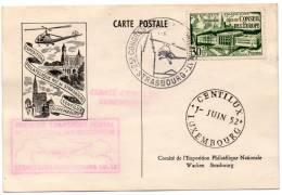 FRANCE CARTE POSTALE EXPOSITION PHILATELIQUE Nle DE STRASBOURG ET CENTILUX LUXEMBOURG 1-JUIN 52 - 1927-1959 Briefe & Dokumente