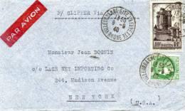 FRANCE LETTRE PAR AVION AVEC MENTION P/CLIPPER Via LISBONNE DEPART VILLEURBANNE 9-9-40 POUR NEW YORK (U.S.A) - 1927-1959 Briefe & Dokumente