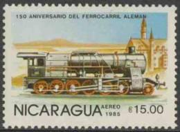 Nicaragua 1985 Mi 2583 Aero ** Steam Locomotive, Wurttemberg – 150th Ann. German Railways / Dampflok - Treinen