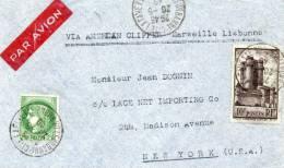 LETTRE PAR AVION AVEC MENTION VIA AMERICAN CLIPPER Marseille Lisbonne DEPART VILLEURBANNE 20-5-40 POUR NEW YORK (U.S.A) - 1927-1959 Briefe & Dokumente