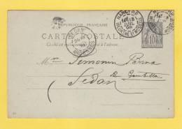 ENTIER POSTAL - 1898 - Cachet Postal De Sedan - NANCY R.P. - Postal Stamped Stationery