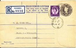 Great Britain Uprated Registered Postal Stationery Sent To Czechoslovakia Runcorn 8-2-1965 - Entiers Postaux