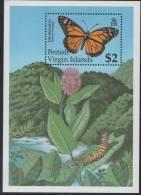 Virgin Islands. Monarch Butterfly. MNH SS. 1991. SCV = 10.00 - Butterflies