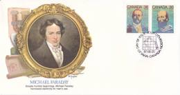 Canada 1987 - FDC Illustrée Grands Scientifiques Du Monde - Michael Faraday + R.A. Fessenden, C. Fenerty - 1981-1990