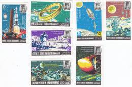 Aden, Qu'aiti State In Hadhramaut,1967 Sapce Projects Set Perf+ Imperf In 2 Scans 7 V.complet With Margin, MNH Superb- S - Aden (1854-1963)