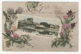 27 - Vernon         De Vernon Je Vous Envoie Ces Fleurs       Eglise Vue De La Rive Droite - Vernon