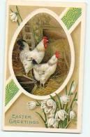 Magnifiques POULE Et COQ - Carte Gaufrée En TBE - 2 Scans - Oiseaux