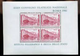 ERINNOFILI - ROMA 1981 - 35° CONVEGNO FILATELICO -  FOGLIETTO  IPZS- E/E - Erinnofilia