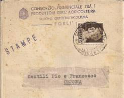 CONSORZIO PROVINCIALE PRODUTTORI DELL'AGRICOLTURA, SEZ. ORTOFRUTTICOLTURA, FORLI,  CIRCOLARE  VIAGGIATA 1940 PER CESENA, - F. Alberi & Arbusti