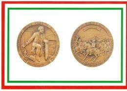 [DC1645]  CARTOLINEA - DI MEDAGLIA IN MEDAGLIA - III° CENT. NASCITA PIETRO MICCA - INCONTRO V.AMEDEO CON E.DI SAVOIA - Monete (rappresentazioni)