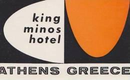 GREECE ATHENS KING MINOS HOTEL VINTAGE HOTEL LABEL - Hotel Labels