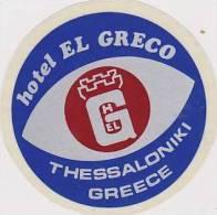 GREECE THESSALONIKI HOTEL EL GRECO VINTAGE HOTEL LABEL - Hotel Labels
