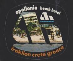 GREECE CRETE HERAKLION APOLLONIA BEACH HOTEL VINTAGE HOTEL LABEL - Etiquettes D'hotels