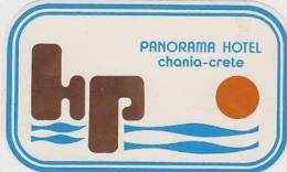 GREECE CRETE PANORAMA HOTEL VINTAGE HOTEL LABEL - Hotel Labels