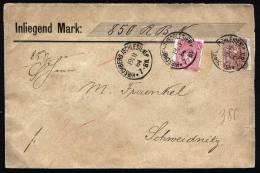 A1874) DR Wertbrief Von Hirschberg 19.11.1884 Nach Schweidnitz Mit Mi.41 Und 43 !