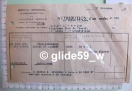 Attribution D'un Ordre N° 286 - BUREAU REGIONAL D'ORGANISATION DE L'INDUSTIE TEXTILE Nord & Pas-de-Calais - LILLE Le - Textile & Vestimentaire