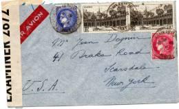 FRANCE LETTRE PAR AVION CENSUREE DEPART VILLEURBANNE POUR NEW YORK (U.S.A) - 1927-1959 Briefe & Dokumente