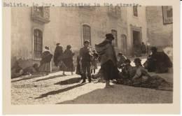 La Paz Bolivia, Street Scene Market Natives C1940s Vintage Real Photo Postcard - Bolivia