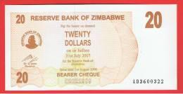 ZIMBABWE - 20  Dolar  2006 SC  P-40 - Zimbabwe