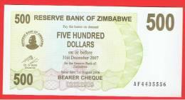 ZIMBABWE -  500  Dolar  2006 SC  P-43 - Zimbabwe