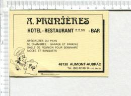 Cartonnette Publicitaire -  A. PRUNIERES  -  Hôtel - Restaurant -   Bar  -  AUMONT AUBRAC - Placas De Cartón
