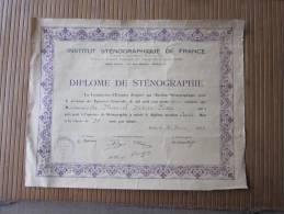 30 Juin 1933 Diplôme De Sténographie -appromention Assez Bien à La Vitesse De 50 Mots Par Minute Institut Sténographique - Diplômes & Bulletins Scolaires