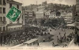 CPA - SAINT-ETIENNE (42 - LOIRE ) - Le Tram Sur La Place Du Peuple Un Jour De Grand Marché - Saint Etienne