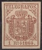 ESTGF1-L2151.Espagne. Spain.ESCUDO DE ESPAÑA.TELEGRAFOS  DE ESPAÑA .1864 (Ed 1*)  MAGNIFICO.Certificado. - Telegraph