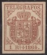 ESTGF1-L2151TESO.Espagne . Spain.ESCUDO DE ESPAÑA.TELEGRAFOS  DE ESPAÑA .1864 (Ed 1*)  MAGNIFICO.Certificado. - Escudos De Armas