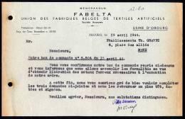 Belgique - Obourg - FABELTA - Union Des Fabriques Belges De Textiles Artificiels - 1944 - 1900 – 1949