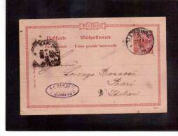 DE35   -   GERMANIA STORIA POSTALE   -   POSTKARTE     HAMBURG/BARI    25.4.1899 - Entiers Postaux
