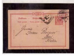 DE44   -   GERMANIA STORIA POSTALE   -   POSTKARTE     BRAUNSCHWEIG/BARI    31.8.1899 - Entiers Postaux