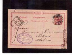 DE50   -   GERMANIA STORIA POSTALE   -   POSTKARTE    OSNABRUECK/BARI    21.8.1898 - Entiers Postaux