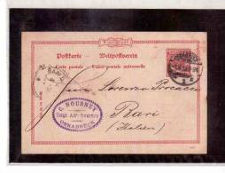 DE51   -   GERMANIA STORIA POSTALE   -   POSTKARTE    OSNABRUECK/BARI    1.4.1898 - Entiers Postaux