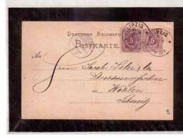 DE141   -   GERMANIA       STORIA POSTALE   -   POSTKARTE  LIPZIG/WOHLEN     13.8.1895 - Entiers Postaux