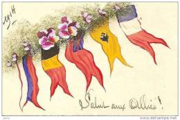"""PATRIOTIQUE CARTE PEINTE 1914 """"SALUT AUX ALLIES ! """" SUPERBE REF 10947 - Patriotic"""