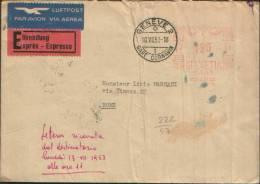 1953 AFFRANCHISEMENT MECANIQUE GENEVE 2 GARE CORNAVIN X ROMA EXPRES - Affrancature Meccaniche