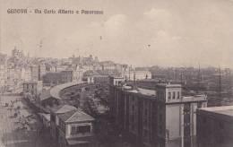 GENOVA   - VIA CARLO ALBERTO E PANORAMA STAZIONE TRENI VG 1912  AUTENTICA 100% - Genova (Genoa)