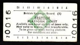 Railway Platform Ticket FRATTON BRB(S) Green Diamond Edmondson - Railway