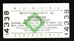 Railway Platform Ticket FAVERSHAM BRB(S) Green Diamond Edmondson - Europe