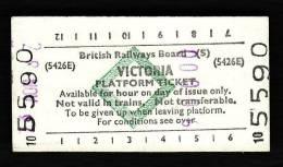 Railway Platform Ticket VICTORIA BRB(S) Green Diamond Edmondson London - Railway