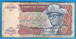 ZAIRE -  50.000 Zaires 1991 Circulados  P-40 - Zaire