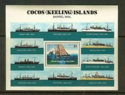 COCOS ISLANDS 1984 MNH Block B2 Barrel Mail - Ships