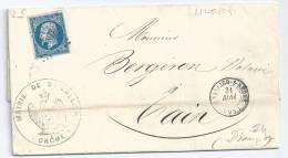 N° 14 BLEU NAPOLEON SUR LETTRE / SAINT VALLIER SUR RHONE POUR TAIN /  31 MAI 1859 - Poststempel (Briefe)